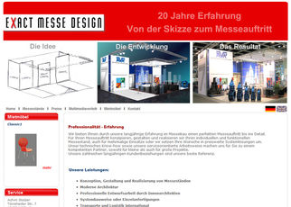 Website der Messebaufirma. www.exact-messe-design.de